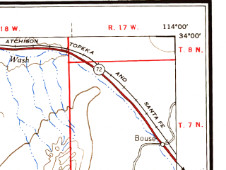 Reduced fragment of topographic map en--usgs--250k--069008--(1955)--N034-00_W116-00--N033-00_W114-00 in area of Palen Lake (dry), Ford Dry Lake, Hayfield Lake; towns and cities Blythe, Calipatria, Westmorland, East Blythe