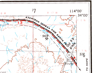 Reduced fragment of topographic map en--usgs--250k--069008--(1959)--N034-00_W116-00--N033-00_W114-00 in area of Palen Lake (dry), Ford Dry Lake, Hayfield Lake; towns and cities Blythe, East Blythe, Ehrenberg, Niland