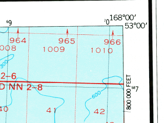 Reduced fragment of topographic map en--usgs--250k--069009--(1951)--N053-00_W170-00--N052-00_W168-00; towns and cities Nikolski