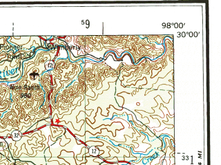 Reduced fragment of topographic map en--usgs--250k--069011--(1954)--N030-00_W100-00--N029-00_W098-00 in area of Canyon Lake, Medina Lake, Calavaras Lake; towns and cities San Antonio, New Braunfels, Schertz, Uvalde, Live Oak