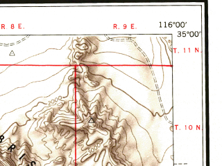 Reduced fragment of topographic map en--usgs--250k--069012--(1953)--N035-00_W118-00--N034-00_W116-00 in area of Rogers Lake (dry); towns and cities San Bernardino, Ontario, Pomona, Baldwin Park, Upland