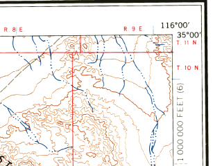 Reduced fragment of topographic map en--usgs--250k--069012--(1966)--N035-00_W118-00--N034-00_W116-00 in area of Rogers Lake (dry); towns and cities San Bernardino, Ontario, Pomona, Fontana, West Covina