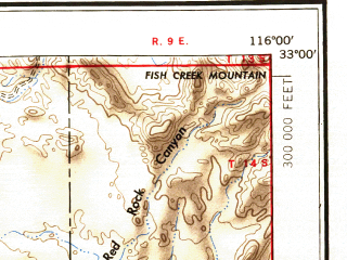 Reduced fragment of topographic map en--usgs--250k--069013--(1950)--N033-00_W118-00--N032-00_W116-00 in area of San Diego Bay, San Vicente Reservoir, El Capitan Lake; towns and cities San Diego, Tijuana, Chula Vista, Spring Valley, National City