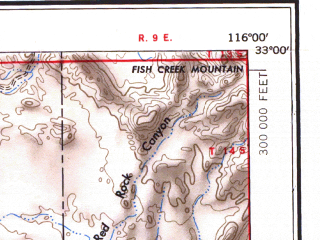 Reduced fragment of topographic map en--usgs--250k--069013--(1954)--N033-00_W118-00--N032-00_W116-00 in area of San Diego Bay, San Vicente Reservoir, El Capitan Lake; towns and cities San Diego, Tijuana, Chula Vista, El Cajon, Santee