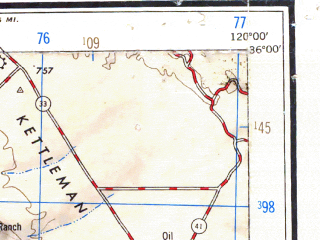 Reduced fragment of topographic map en--usgs--250k--069015--(1947)--N036-00_W122-00--N035-00_W120-00 in area of Nacimiento Reservoir, San Antonio Reservoir, Arroyo Grande Creek; towns and cities San Luis Obispo, Atascadero, Grover Beach, Arroyo Grande, Paso Robles