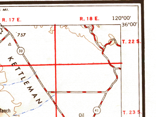 Reduced fragment of topographic map en--usgs--250k--069015--(1948)--N036-00_W122-00--N035-00_W120-00 in area of Nacimiento Reservoir, San Antonio Reservoir, Arroyo Grande Creek; towns and cities San Luis Obispo, Atascadero, Grover Beach, Arroyo Grande, Paso Robles