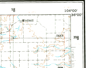 Reduced fragment of topographic map en--usgs--250k--069017--(1954)--N036-00_W106-00--N035-00_W104-00 in area of Conchas Lake, Santa Rosa Lake, Storrie Lake; towns and cities Santa Fe, Las Vegas, Pecos, Roy, Tesuque
