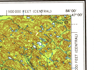 Reduced fragment of topographic map en--usgs--250k--069018--(1958)--N047-00_W086-00--N046-00_W084-00 in area of Tahquamenon, Manistique Lake, South Manistique Lake; towns and cities Sault Sainte Marie, Sault Ste. Marie, Echo Bay, Newberry, Glendale