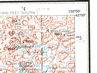 Reduced fragment of topographic map en--usgs--250k--069020--(1954)--N042-00_W104-00--N041-00_W102-00 in area of Lake Minature, Crescent Lake, Lake Alice; towns and cities Scottsbluff, Sidney, Gering, Lewellen, Oshkosh