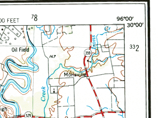 Reduced fragment of topographic map en--usgs--250k--069023--(1953)--N030-00_W098-00--N029-00_W096-00 in area of Lake Fayette, Eagle Lake; towns and cities San Marcos, El Campo, Seguin, Gonzales, Lockhart
