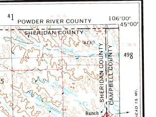 Reduced fragment of topographic map en--usgs--250k--069027--(1955)--N045-00_W108-00--N044-00_W106-00 in area of Clear Creek, Piney Creek, Lake De Smet; towns and cities Sheridan, Worland, Dayton, Manderson, Ranchester