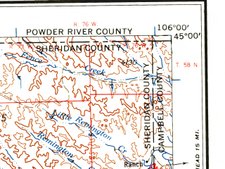 Reduced fragment of topographic map en--usgs--250k--069027--(1958)--N045-00_W108-00--N044-00_W106-00 in area of Clear Creek, Piney Creek, Lake De Smet; towns and cities Sheridan, Worland, Ranchester, Buffalo, Clearmont