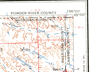 Reduced fragment of topographic map en--usgs--250k--069027--(1962)--N045-00_W108-00--N044-00_W106-00 in area of Clear Creek, Piney Creek, Lake De Smet; towns and cities Sheridan, Worland, Manderson, Ranchester, Buffalo