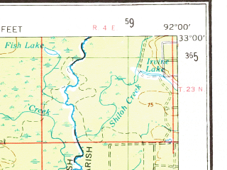 Reduced fragment of topographic map en--usgs--250k--069030--(1955)--N033-00_W094-00--N032-00_W092-00 in area of Bayou D'arbonne; towns and cities Shreveport, Bossier City, Monroe, Ruston, West Monroe