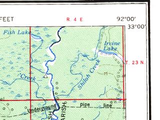 Reduced fragment of topographic map en--usgs--250k--069030--(1956)--N033-00_W094-00--N032-00_W092-00 in area of Bayou D'arbonne; towns and cities Shreveport, Bossier City, Monroe, Ruston, Minden