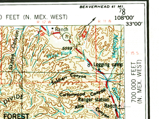 Reduced fragment of topographic map en--usgs--250k--069031--(1954)--N033-00_W110-00--N032-00_W108-00; towns and cities Silver City, Safford, Hurley, Central, Lordsburg
