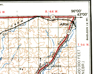 Reduced fragment of topographic map en--usgs--250k--069032--(1959)--N043-00_W098-00--N042-00_W096-00 in area of Lewis And Clark Lake; towns and cities Sioux City, Norfolk, Vermillion, Yankton, Le Mars