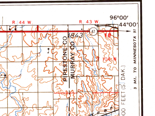 Reduced fragment of topographic map en--usgs--250k--069033--(1958)--N044-00_W098-00--N043-00_W096-00 in area of Lake Madison, Brant Lake, Long Lake; towns and cities Sioux Falls, Sioux Center, Hardwick, Parkston, Baltic