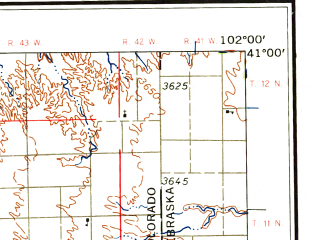 Reduced fragment of topographic map en--usgs--250k--069038--(1958)--N041-00_W104-00--N040-00_W102-00 in area of Sterling Reservoir, Prewitt Reservoir, Jumbo Lake; towns and cities Sterling, Fort Morgan, Eckley, Ovid, Venango
