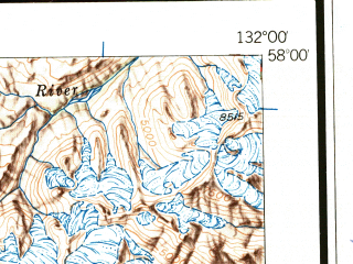 Reduced fragment of topographic map en--usgs--250k--069040--(1952)--N058-00_W134-00--N057-00_W132-00 in area of Sweetheart Lake, Farragut Lake, Glory Lake; towns and cities Hobart Bay