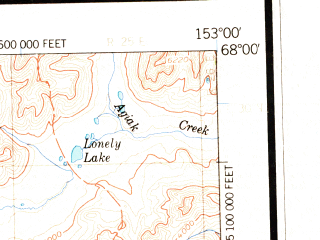 Reduced fragment of topographic map en--usgs--250k--069041--(1966)--N068-00_W156-00--N067-00_W153-00 in area of Walker Lake, Iniakuk Lake, Avaraart Lake