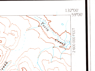 Reduced fragment of topographic map en--usgs--250k--069042--(1960)--N059-00_W134-00--N058-00_W132-00 in area of Inklin, Tatsamenie Lake, Whiting Lake; towns and cities Inklin, Tulsequah