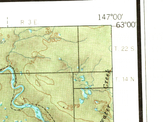 Reduced fragment of topographic map en--usgs--250k--069043--(1966)--N063-00_W150-00--N062-00_W147-00 in area of Susitna, Susitna, Susitna