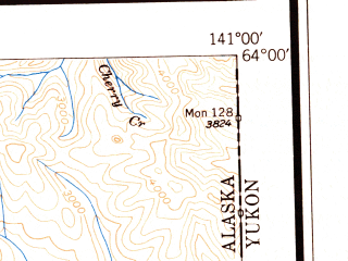 Reduced fragment of topographic map en--usgs--250k--069045--(1949)--N064-00_W144-00--N063-00_W141-00 in area of Tanana, Tetlin Lake, Lake Mansfield; towns and cities Northway Junction, Tanacross, Tetlin