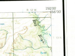 Reduced fragment of topographic map en--usgs--250k--069046--(1956)--N066-00_W153-00--N065-00_W150-00 in area of Fish Lake, Clear Creek, Lush Lake; towns and cities Rampart, Tanana
