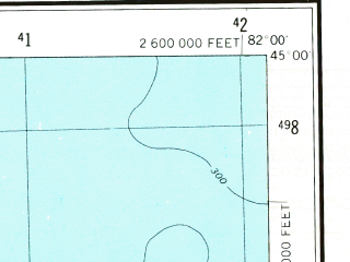 Reduced fragment of topographic map en--usgs--250k--069048--(1954)--N045-00_W084-00--N044-00_W082-00 in area of Hubbard Lake, Fletcher Pond, Tawas Lake; towns and cities Wurtsmith Afb, Au Sable, Oscoda, Ossineke