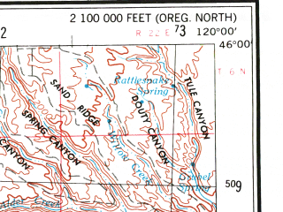 Reduced fragment of topographic map en--usgs--250k--069051--(1953)--N046-00_W122-00--N045-00_W120-00 in area of Timothy Lake; towns and cities City Of The Dalles, Shaniko, Moro, Stevenson
