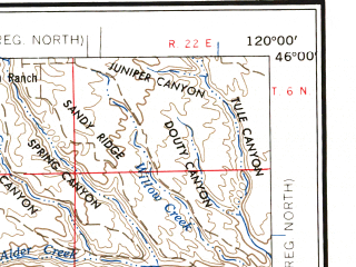 Reduced fragment of topographic map en--usgs--250k--069051--(1957)--N046-00_W122-00--N045-00_W120-00 in area of Timothy Lake; towns and cities City Of The Dalles, Arlington, North Bonneville, Condon