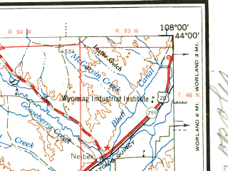 Reduced fragment of topographic map en--usgs--250k--069052--(1958)--N044-00_W110-00--N043-00_W108-00 in area of Wind, Little Wind, Boysen Reservoir; towns and cities Riverton, Kirby, Dubois, Pavillion