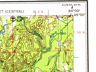 Reduced fragment of topographic map en--usgs--250k--069058--(1958)--N045-00_W086-00--N044-00_W084-00 in area of Houghton Lake, Higgins Lake, Elk Lake; towns and cities Traverse City, Cadillac, Manton, Elk Rapids, Rose City