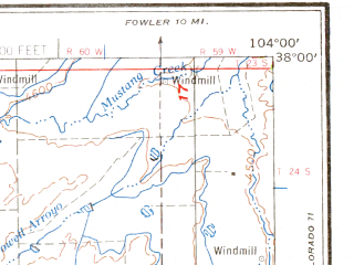 Reduced fragment of topographic map en--usgs--250k--069059--(1959)--N038-00_W106-00--N037-00_W104-00 in area of Cucharas, Trinidad Lake, Model Reservoir; towns and cities Trinidad, Alamosa, Cokedale, Romeo, Colorado City