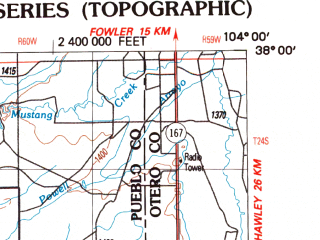 Reduced fragment of topographic map en--usgs--250k--069059--(1988)--N038-00_W106-00--N037-00_W104-00 in area of Cucharas, Trinidad Lake, Model Reservoir; towns and cities Trinidad, Alamosa, Cokedale, Romeo, Colorado City