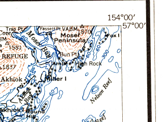 Reduced fragment of topographic map en--usgs--250k--069060--(1951)--N057-00_W156-00--N056-00_W154-00 in area of Mark Island; towns and cities Akhiok