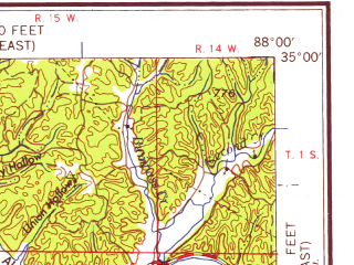 Reduced fragment of topographic map en--usgs--250k--069065--(1958)--N035-00_W090-00--N034-00_W088-00 in area of Sardis Lake; towns and cities Tupelo, Southaven, Corinth, Booneville, New Albany
