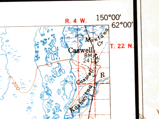 Reduced fragment of topographic map en--usgs--250k--069068--(1951)--N062-00_W153-00--N061-00_W150-00 in area of Chakachamna Lake, Beluga Lake, Skwentna; towns and cities Skwentna, Tyonek, Willow