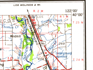 Reduced fragment of topographic map en--usgs--250k--069070--(1960)--N040-00_W124-00--N039-00_W122-00 in area of Black Butte Lake, Indian Valley Reservoir, Little Stony Creek; towns and cities Ukiah, Orland, Corning, Willits, Nice