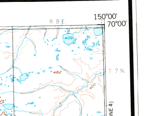 Reduced fragment of topographic map en--usgs--250k--069071--(1956)--N070-00_W153-00--N069-00_W150-00 in area of Shirukak Lake