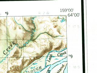 Reduced fragment of topographic map en--usgs--250k--069073--(1952)--N064-00_W162-00--N063-00_W159-00; towns and cities Unalakleet