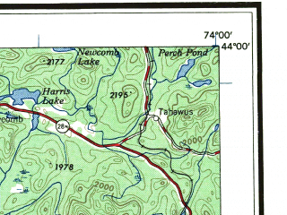 Reduced fragment of topographic map en--usgs--250k--069076--(1957)--N044-00_W076-00--N043-00_W074-00 in area of Erie Canal, West Canada Creek, Raquette Lake; towns and cities Utica, Watertown, Rome, Oneida, Gloversville