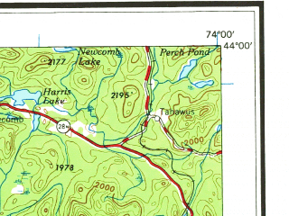 Reduced fragment of topographic map en--usgs--250k--069076--(1964)--N044-00_W076-00--N043-00_W074-00 in area of Erie Canal, West Canada Creek, Raquette Lake; towns and cities Utica, Watertown, Rome, Oneida, Gloversville