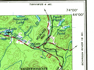 Reduced fragment of topographic map en--usgs--250k--069076--(1967)--N044-00_W076-00--N043-00_W074-00 in area of Erie Canal, West Canada Creek, Raquette Lake; towns and cities Utica, Watertown, Rome, Oneida, Gloversville