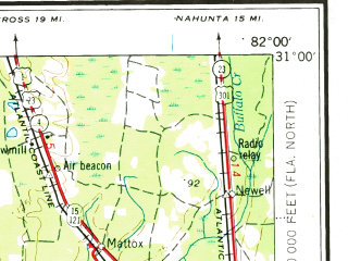 Reduced fragment of topographic map en--usgs--250k--069079--(1954)--N031-00_W084-00--N030-00_W082-00 in area of Hixton Swamp, Ocean Pond, Johannah Lake; towns and cities Valdosta, Thomasville, Lake City, Perry, Live Oak