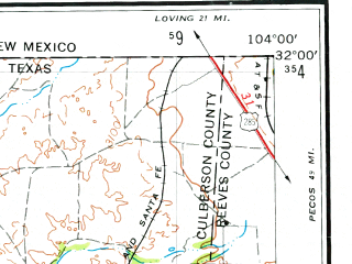 Reduced fragment of topographic map en--usgs--250k--069081--(1954)--N032-00_W106-00--N031-00_W104-00; towns and cities Dell City, Van Horn