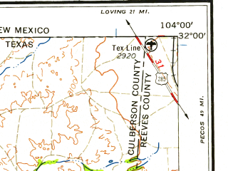 Reduced fragment of topographic map en--usgs--250k--069081--(1958)--N032-00_W106-00--N031-00_W104-00; towns and cities Dell City, Van Horn