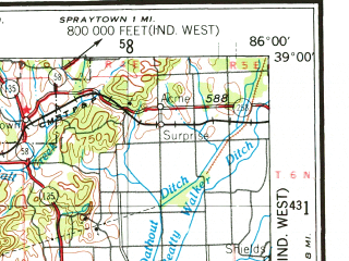 Reduced fragment of topographic map en--usgs--250k--069083--(1956)--N039-00_W088-00--N038-00_W086-00; towns and cities Bedford, Jasper, Vincennes, Boonville, Huntingburg