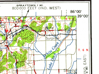 Reduced fragment of topographic map en--usgs--250k--069083--(1958)--N039-00_W088-00--N038-00_W086-00; towns and cities Jasper, Vincennes, Washington, Princeton, Mount Carmel